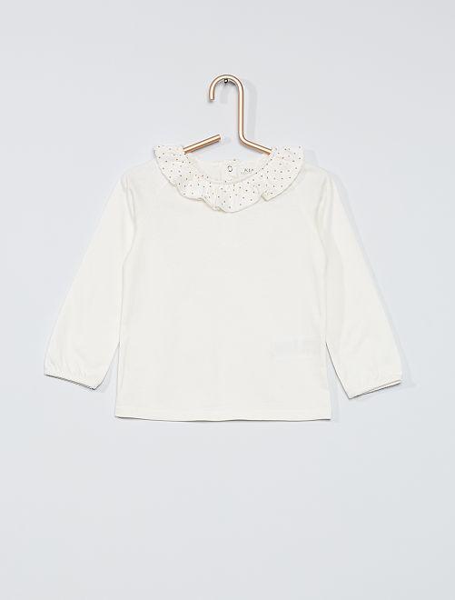Camiseta estampada con cuello 'eco-concepción'                                                                             BLANCO