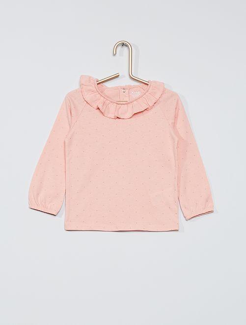 Camiseta estampada con cuello 'eco-concepción'                                                                                                     ROSA