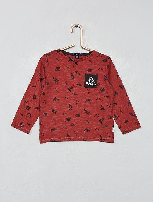Camiseta estampada con cuello panadero                             ROJO