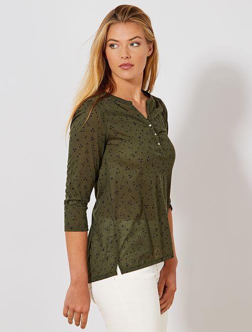ebaba8019ea Camiseta estampada con cuello panadero Mujer talla 34 a 48 - VERDE ...