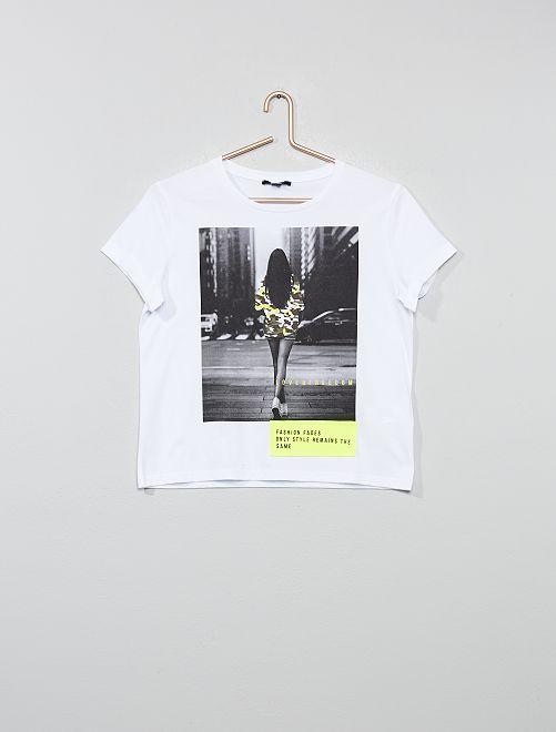 Camiseta estampada con foto y detalles flúor                             blanco Joven niña