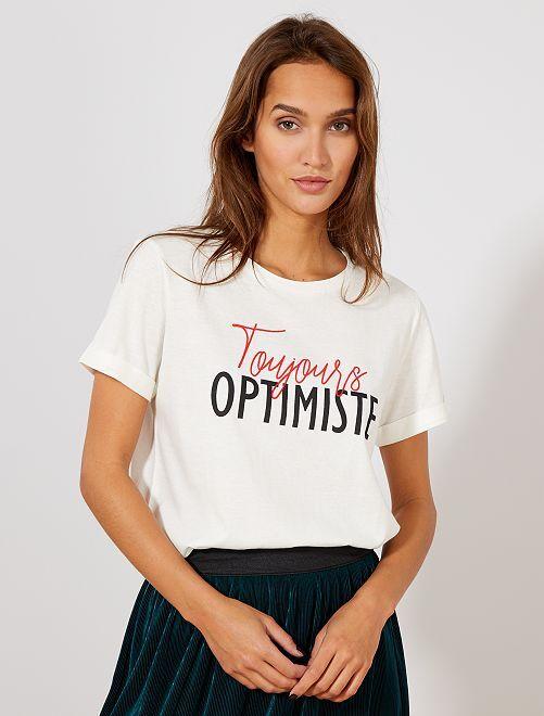 1b82291803e5f Camiseta estampada con mensaje Mujer talla 34 a 48 - BLANCO - Kiabi ...