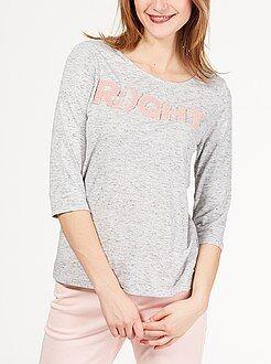 Mujer Camiseta estampada con mensaje en relieve