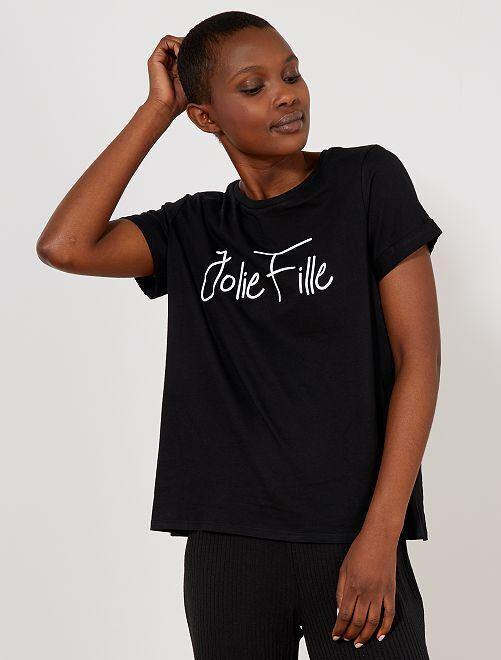 Camiseta de algodón puro con lunares                                                                                                                                 NEGRO Mujer talla 34 a 48