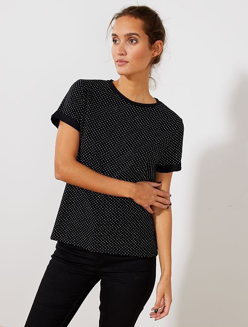 Camiseta estampada con mensaje                                                                                                                                                                             NEGRO Mujer talla 34 a 48