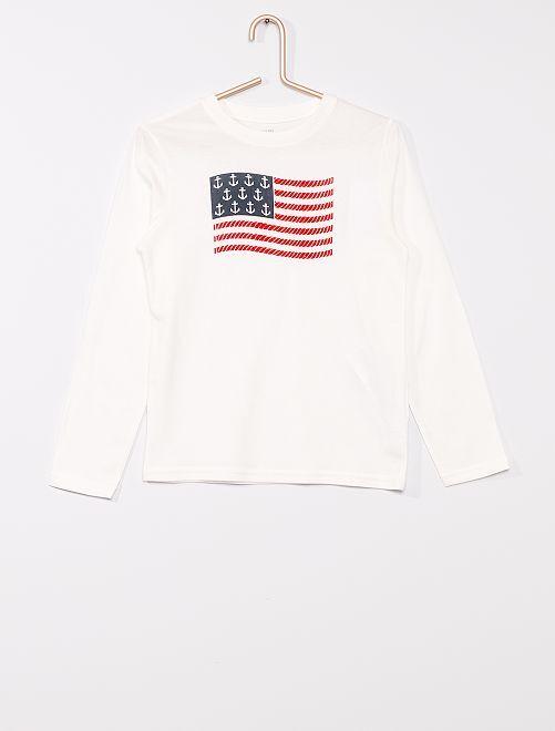 Camiseta estampada con nudos marineros 'eco-concepción'                                         BLANCO
