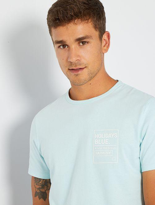 Camiseta estampada con relieve                                                                 AZUL