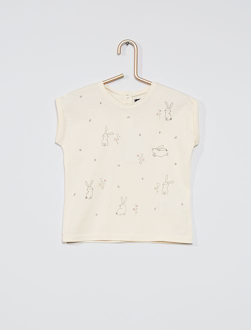Camiseta estampada 'conejos'                             BLANCO