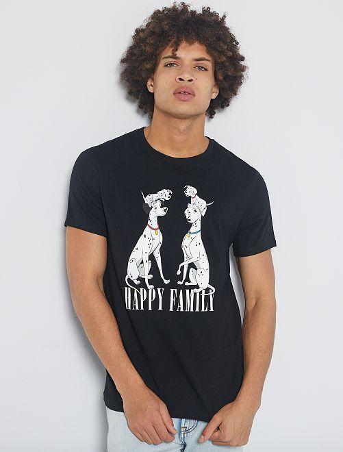 Camiseta estampada 'dálmatas'                             NEGRO