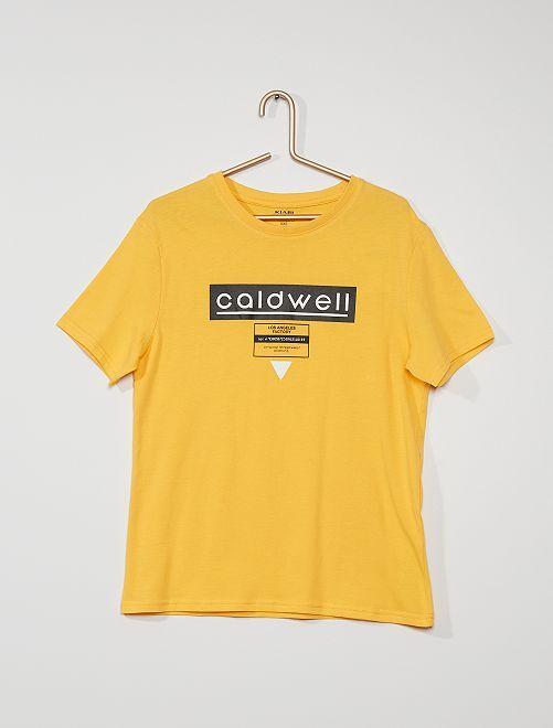 Camiseta estampada de algodón                                                                                                                                                                                                                                         AMARILLO