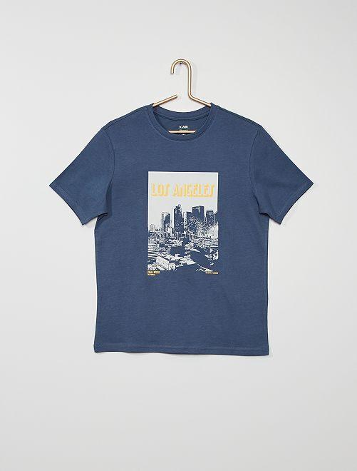 Camiseta estampada de algodón                                                                                                                                                                                                                                                                 AZUL