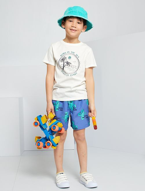 Camiseta estampada de algodón                     BEIGE
