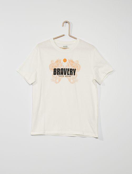 Camiseta estampada de algodón                                                                                                                                                                                                                                         BLANCO
