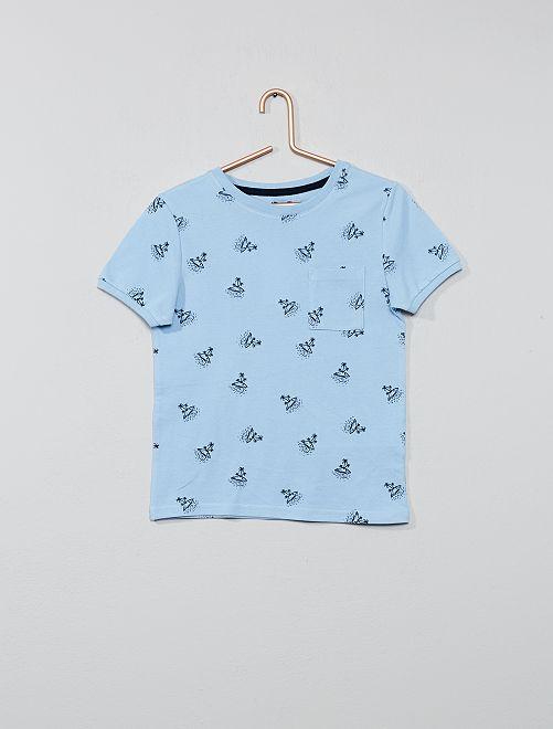 Camiseta estampada de algodón de piqué                                                     AZUL Chico