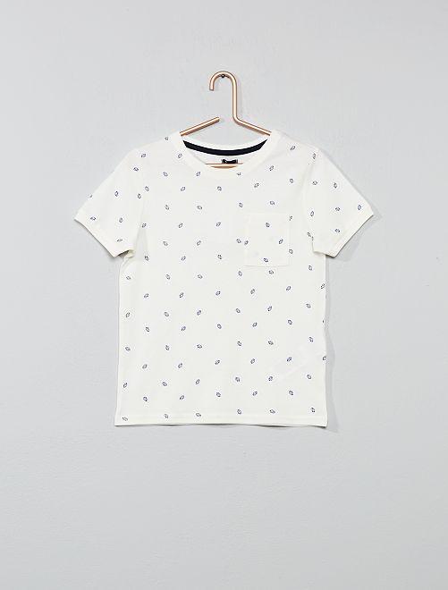 Camiseta estampada de algodón de piqué                     BLANCO