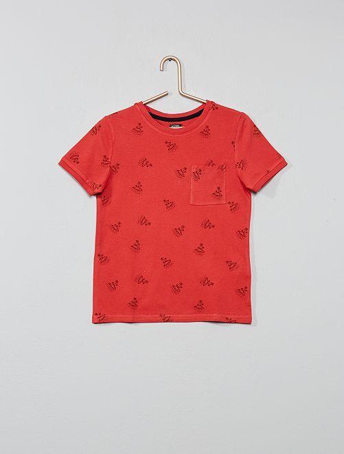 Camiseta estampada de algodón de piqué                                                     ROJO Chico