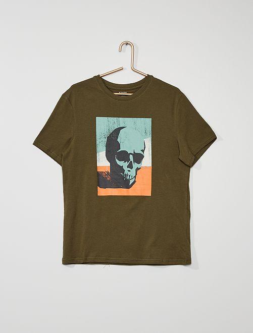 Camiseta estampada de algodón                                                                                                                                                                                                                                                                 KAKI