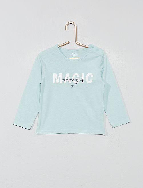 Camiseta estampada de algodón orgánico                                                                     AZUL