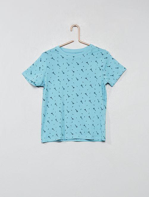 Camiseta estampada de algodón orgánico                                                                                                     AZUL Chico