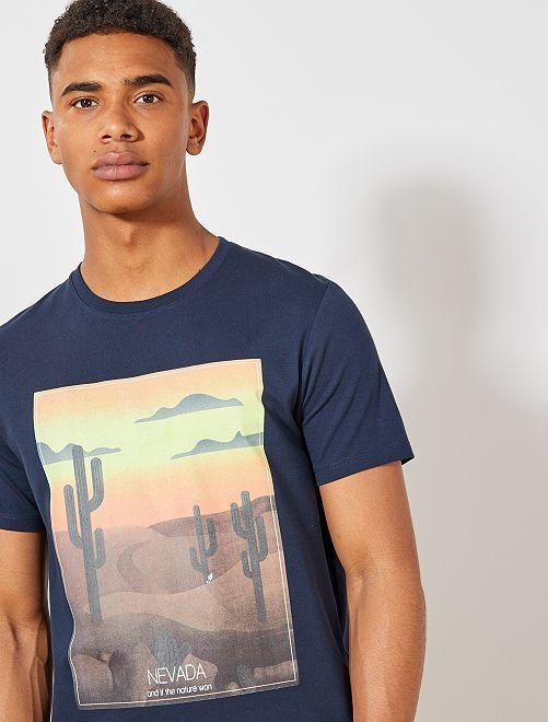 Camiseta estampada de algodón orgánico                                                                                                                     AZUL Hombre