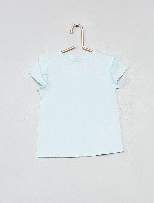 Camiseta estampada de algodón orgánico                                                                                                                                         azul verde Lunares Bebé niña