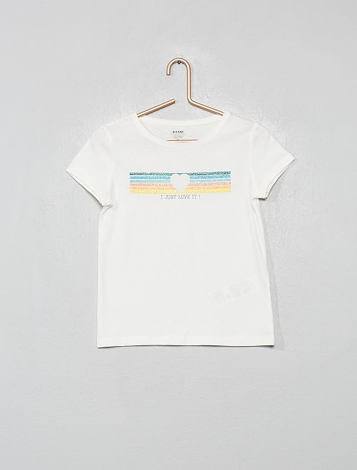 Camiseta estampada de algodón orgánico                                                                 BEIGE