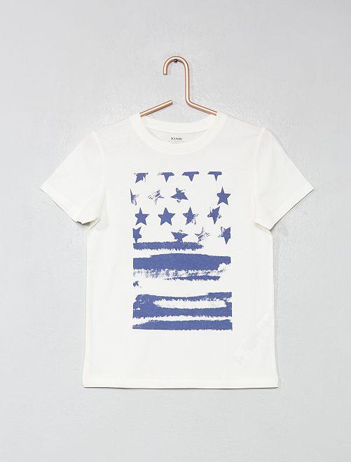 Camiseta estampada de algodón orgánico                                                                                                                                                                 BEIGE Chico