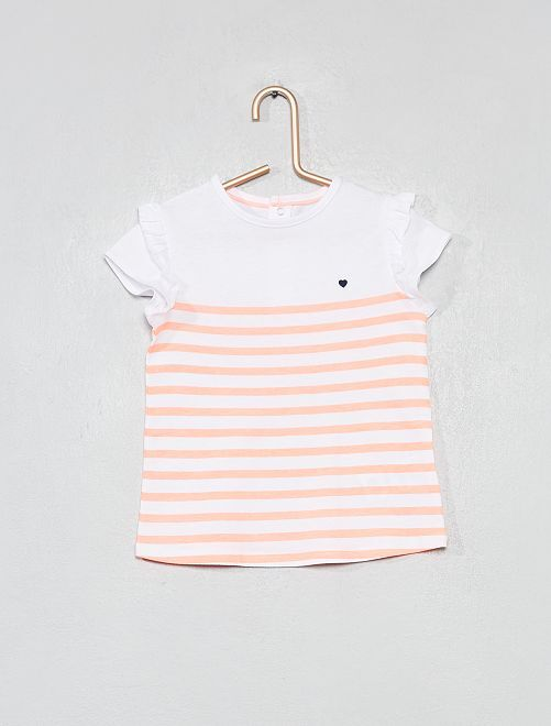 Camiseta estampada de algodón orgánico                                                                                                                                         BLANCO Bebé niña