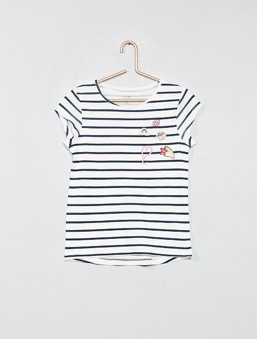 Camiseta estampada de algodón orgánico                                                                 BLANCO Chica