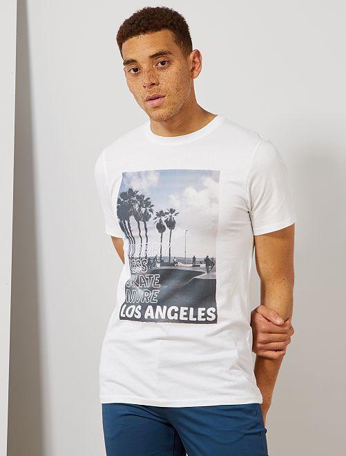 Camiseta estampada de algodón orgánico                                                                                                                                                                 BLANCO Hombre