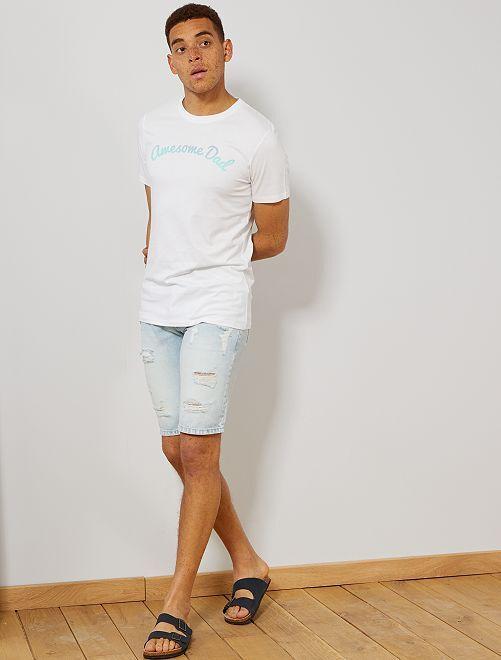 Camiseta estampada de algodón orgánico                                                                                                     BLANCO