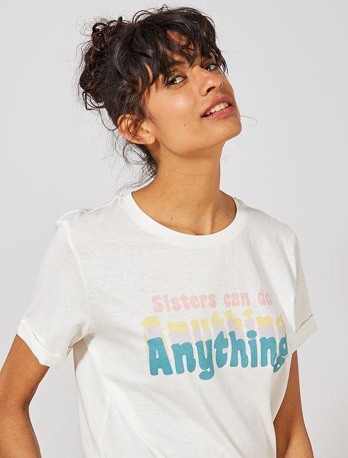 Camiseta estampada de algodón orgánico                                                     BLANCO Mujer talla 34 a 48
