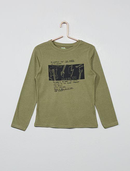 Camiseta estampada de algodón orgánico                                                                                                                                                                 caqui gris
