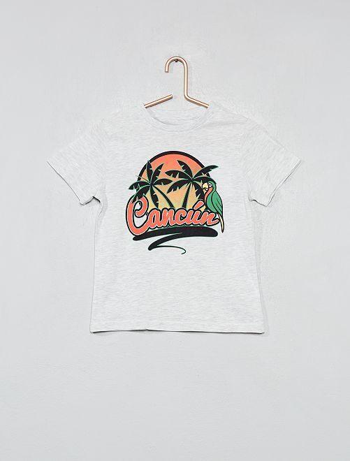 Camiseta estampada de algodón orgánico                                                                                         GRIS Chico
