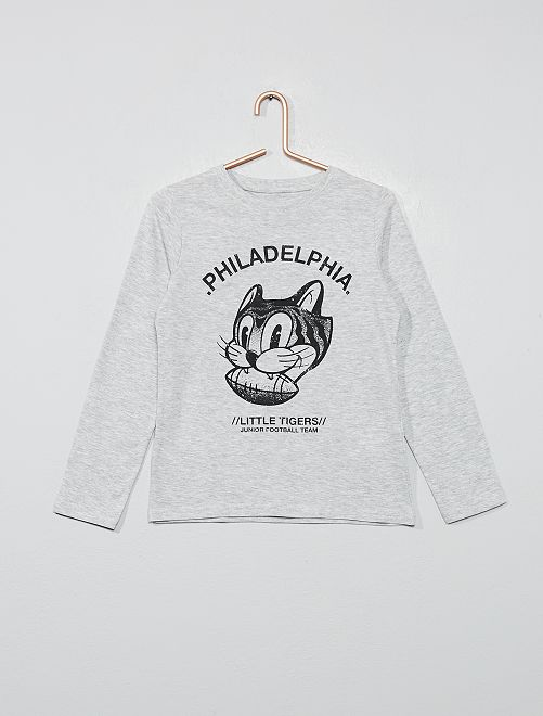 Camiseta estampada de algodón orgánico                                                                                 GRIS