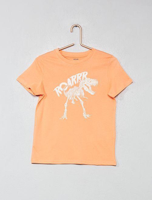 Camiseta estampada de algodón orgánico                                                     NARANJA