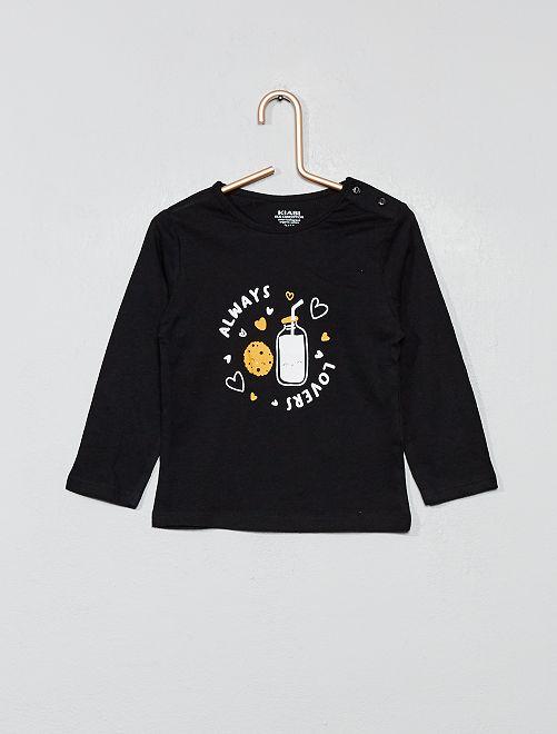 Camiseta estampada de algodón orgánico                                             NEGRO