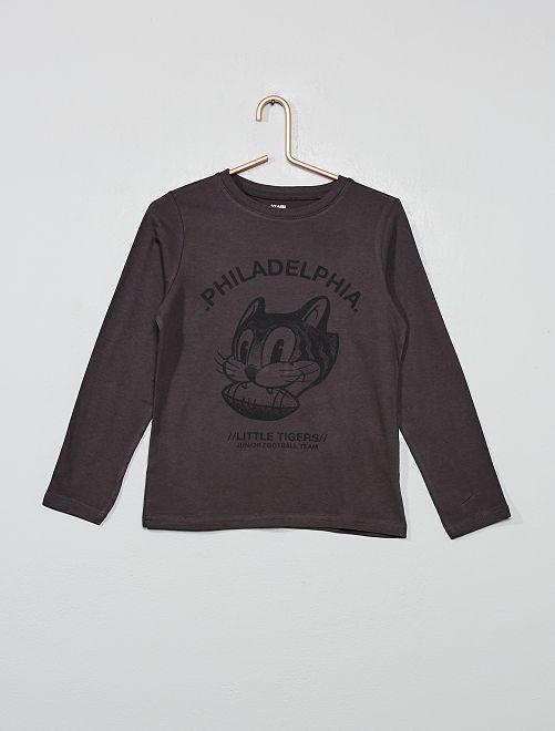 Camiseta estampada de algodón orgánico                                                                                                                             NEGRO Chico