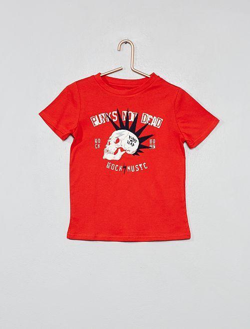 Camiseta estampada de algodón orgánico                                                                 ROJO Chico