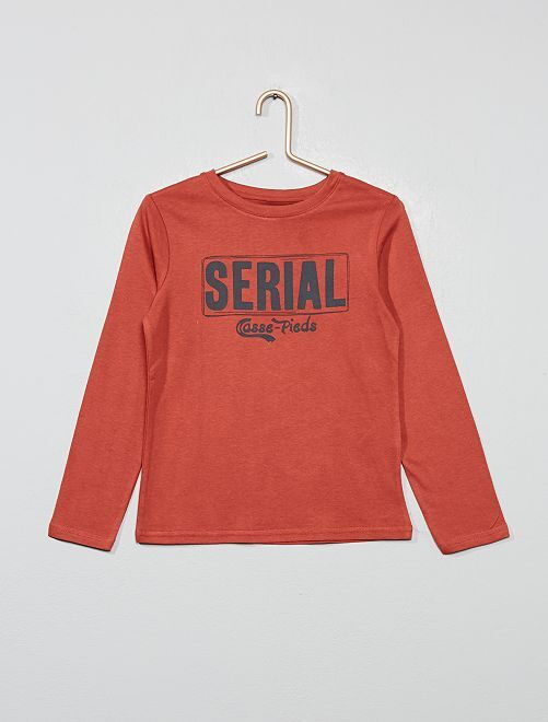 Camiseta estampada de algodón orgánico                                                         ROJO