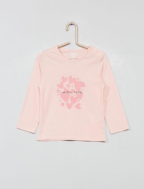 Camiseta estampada de algodón orgánico                                                                                                     ROSA