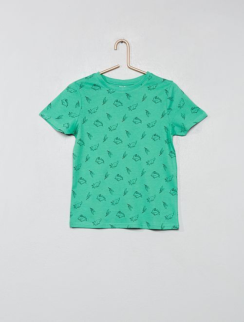 Camiseta estampada de algodón orgánico                                                                                         VERDE Chico