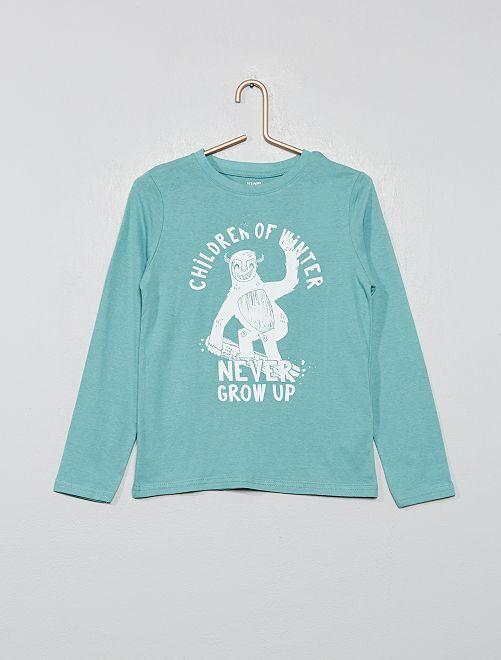 Camiseta estampada de algodón orgánico                                                                                                                 VERDE