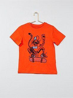 Camisetas manga corta - Camiseta estampada de algodón puro - Kiabi