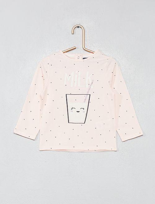 Camiseta estampada de algodón puro                                                                 ROSA Bebé niña
