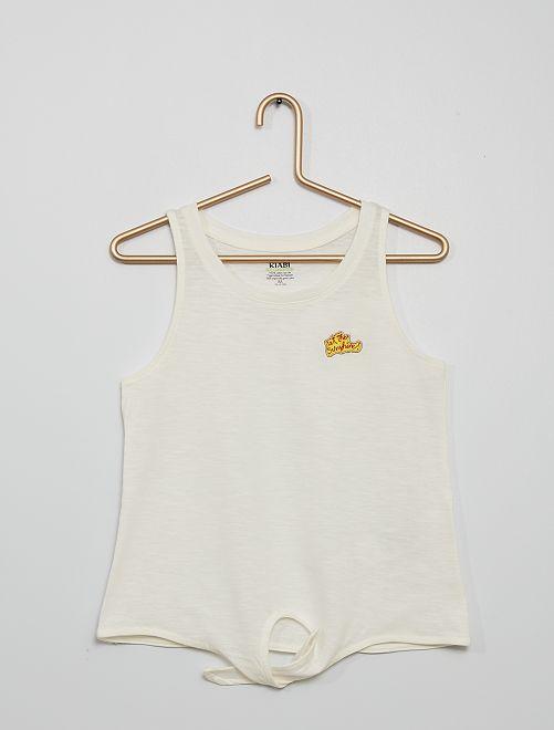 Camiseta estampada de algodón sin mangas                                         BLANCO