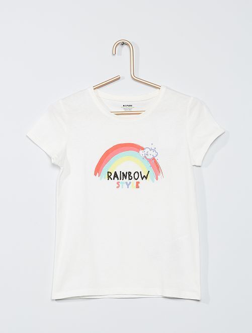 Camiseta estampada de 'arcoíris' 'eco-concepción'                                                     BLANCO