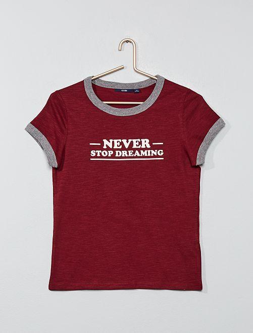 Camiseta estampada de canalé                                         ROJO Joven niña