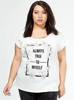 Tallas grandes mujer Camiseta estampada de fieltro