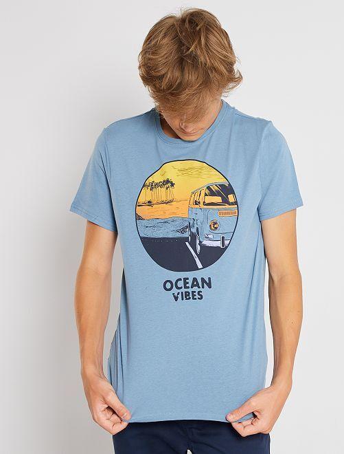 Camiseta estampada de manga corta                                                                                                                                                                                                                 AZUL